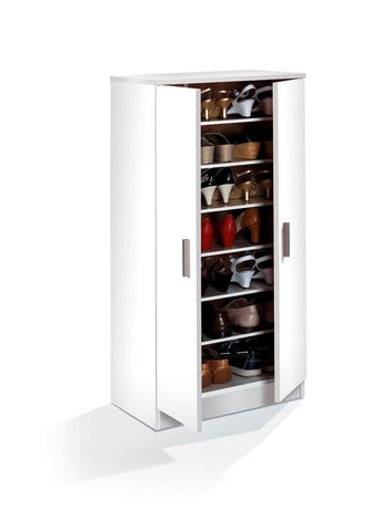 Zap Matt White 6 Shelves Shoe Cabinet