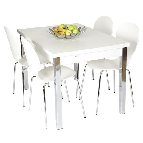 Designa Dining Chairs Chrome legs White. Set of 4