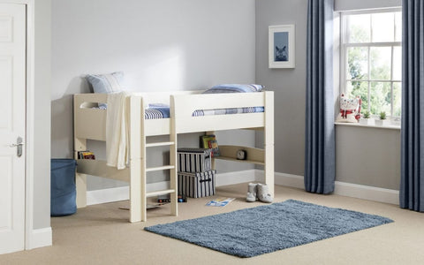 Pluto Midsleeper Bed - Stone White Finish