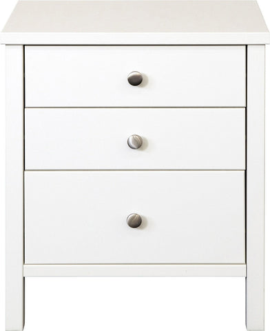 Stockholm 3 Drawer Bedside Table - White