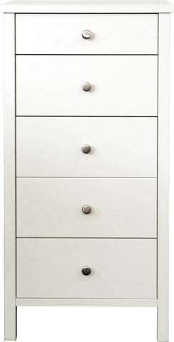 Stockholm Narrow 5 Drawer Chest - White