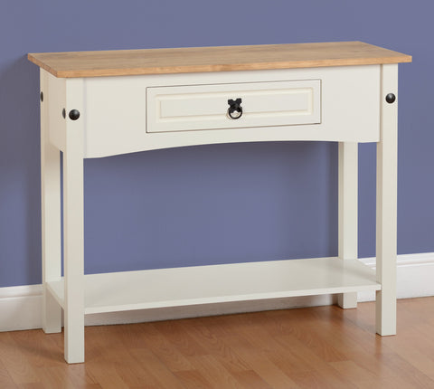 Corona 1 Drawer Console Table with Shelf - Cream/Distressed Waxed Pine