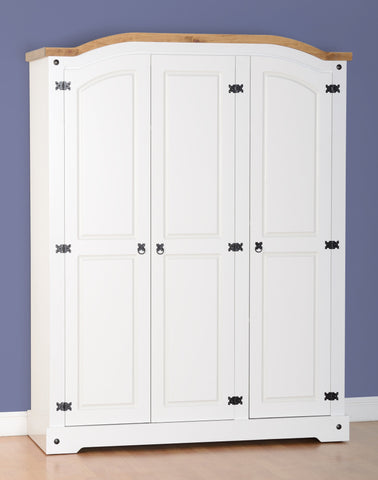Corona 3 Door Wardrobe - White/Distressed Waxed Pine