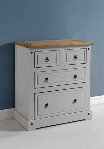 Corona 2+2 Drawer Chest - Grey/Distressed Waxed Pine