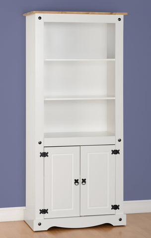 Corona 2 Door Bookcase - White/Distressed Waxed Pine