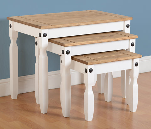 Corona Nest of Tables - White/Distressed Waxed Pine