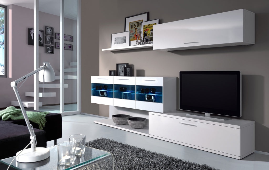 Alia White Gloss Tv Unit Wall Cabinet With Lights
