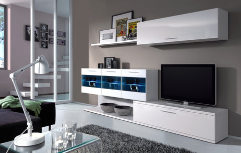 Alia White Gloss TV Unit & Wall Cabinet with Lights