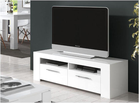 Alpine White Gloss 2 Drawer TV Cabinet Entertainment Unit