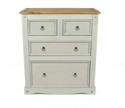 Corona Washed Grey Painted 2+2 Drawer Chest