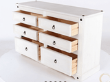 Corona White Washed 3+3 Drawer Wide Chest