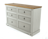 Corona Grey Washed 3+3 Drawers Wide Chest