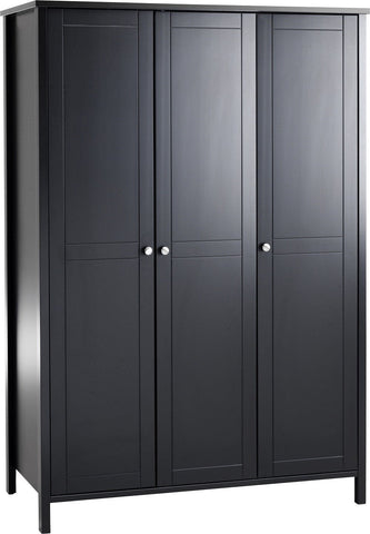 Stockholm 3 Door Wardrobe - Coffee Black
