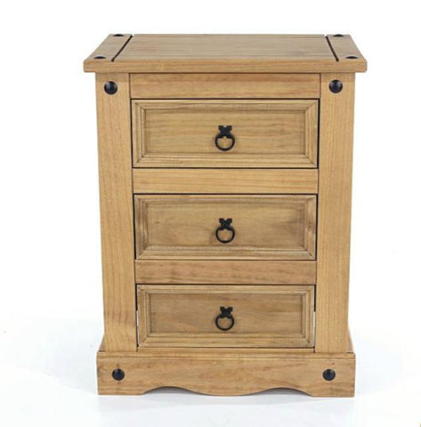 Corona Pine 3 Drawer Bedside Table