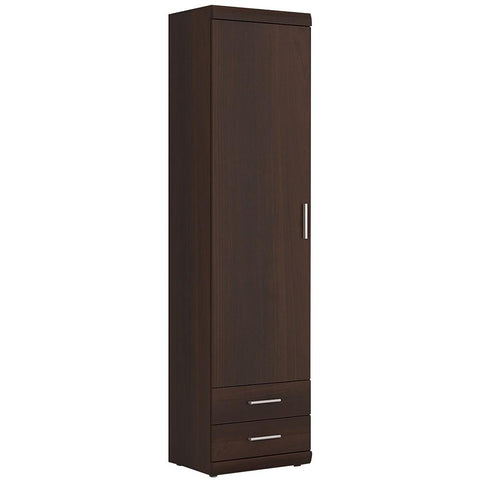 Imperial Tall 1 Door 2 Drawer Narrow Cabinet in Dark Mahogany Melamine