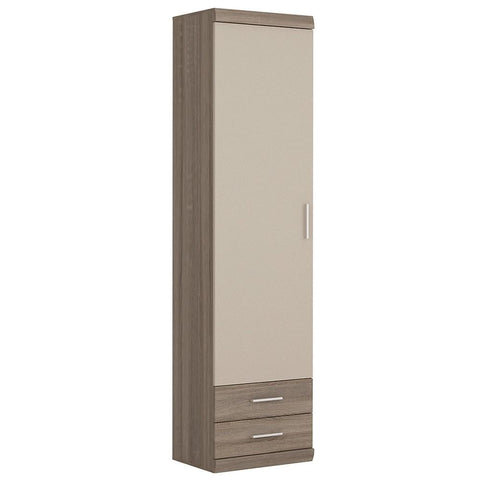 Park Lane Tall 1 Door 2 Drawer Narrow Cabinet in Oak/Champagne