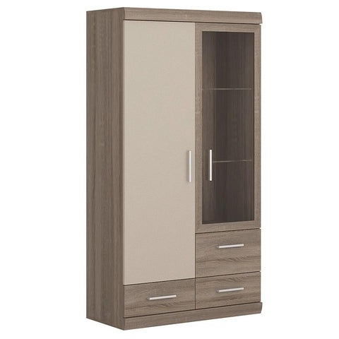 Park Lane 2 Door 3 Drawer Glazed Display Cabinet in Oak/Champagne