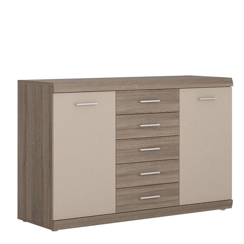 Park Lane 2 door 5 drawer sideboard in Oak/Champagne
