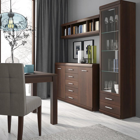 Imperial Tall Glazed 1 Door 2 Drawer Narrow Cabinet in Dark Mahogany Melamine