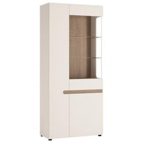 Chelsea Living Tall Glazed Wide Display unit (LHD) in white with an Truffle Oak Trim
