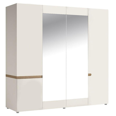 Chelsea Bedroom 4 Door Wardrobe with Mirrors in White with an Truffle Oak Trim