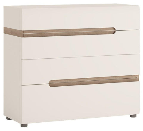Chelsea Bedroom 4 Drawers Chest in White with an Truffle Oak Trim