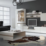 Chelsea Living Wide 3 door TV Unit in white with an Truffle Oak Trim