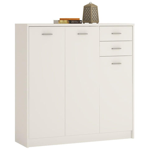 4 You Tall 3 Door 2 Drawer Cupboard/Sideboard in Pearl White