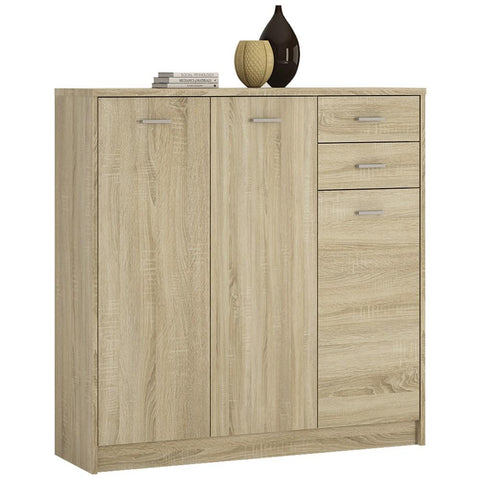4 You Tall 3 Door 2 Drawer Cupboard/Sideboard in Sonama Oak