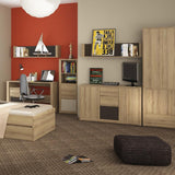 Hobby 2 Door 1 Drawer Wardrobe in Oak Melamine