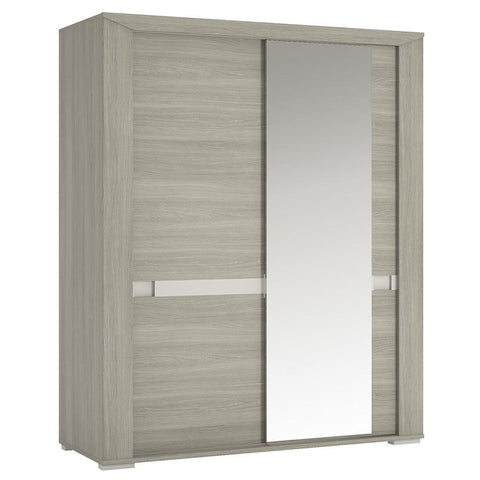 Madras 165 cm Sliding Door Wardrobe with Mirror Door in Champagne Melamine