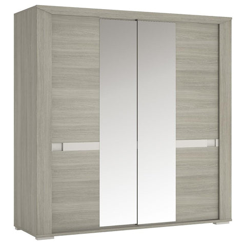 Madras 200 cm Sliding Door Wardrobe with Mirror Doors in Champagne Melamine