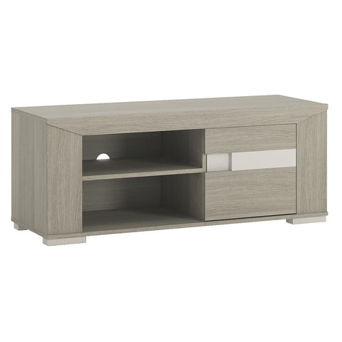 Madras 1 Door TV Cabinet with open shelves in Champagne Melamine