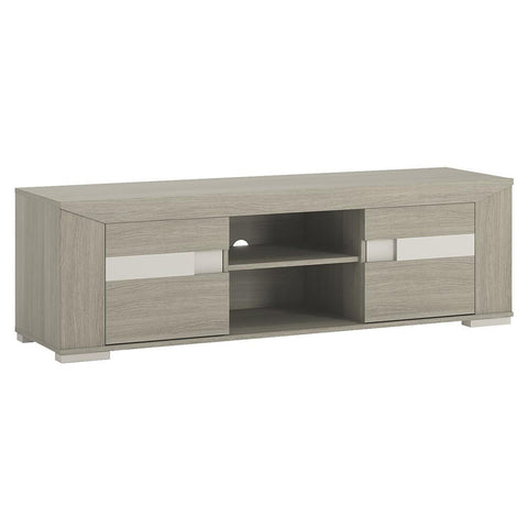 Madras 2 Door Wide TV Unit with open shelf in Champagne Melamine