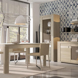Madras Tall Narrow Glazed Display Unit (LHD) in Champagne Melamine
