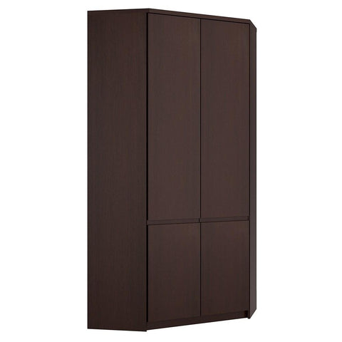 Pello Corner Wardrobe in Dark Mahogany