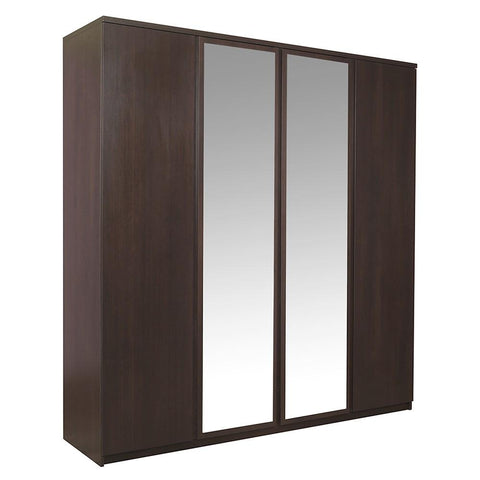 Pello 4 Door Wardrobe with 2 Mirror Door in Dark Mahogany