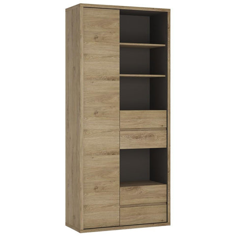Shetland Tall wide 1 door 4 drawer bookcase