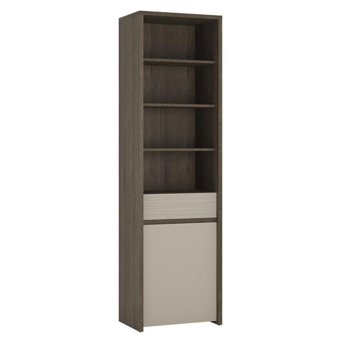 Aspen Dark 1 Door 1 Drawer Bookcase in Riviera Oak