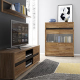 Messina Tall narrow 2 drawer bookcase in Dark Oak/Chocolate
