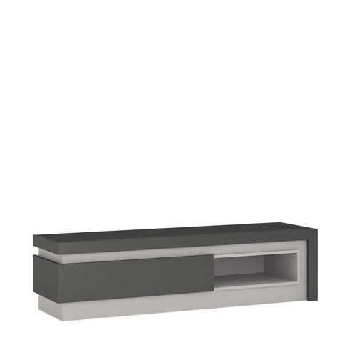Lyon 1 drawer TV cabinet with open shelf in Platinum/Light Grey Gloss