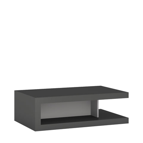 Lyon Designer coffee table on wheels in Platinum/Light Grey Gloss