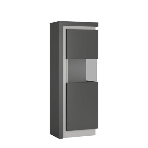 Lyon Narrow display cabinet (RHD) in Platinum/Light Grey Gloss