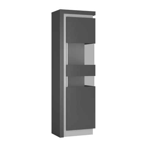 Lyon Tall narrow display cabinet (RHD) in Platinum/Light Grey Gloss