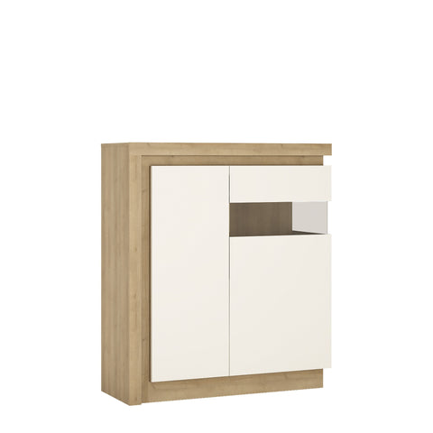 Lyon 2 door designer display cabinet (RH) in Riviera Oak/White High Gloss