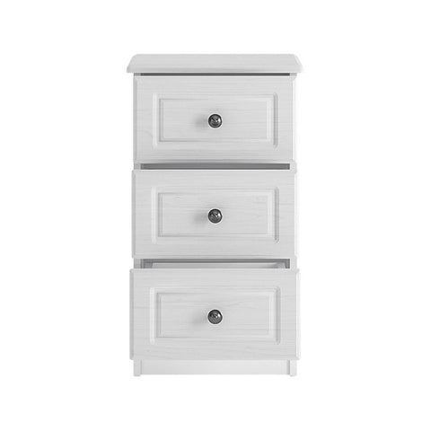 Hampshire 3 drawer bedside in white textured MDF and white melamine