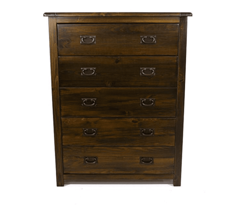 Boston Dark Wood 5 Drawer Chest
