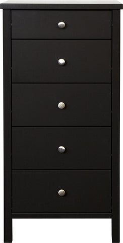 Stockholm Narrow 5 Drawer Chest - Coffee Black