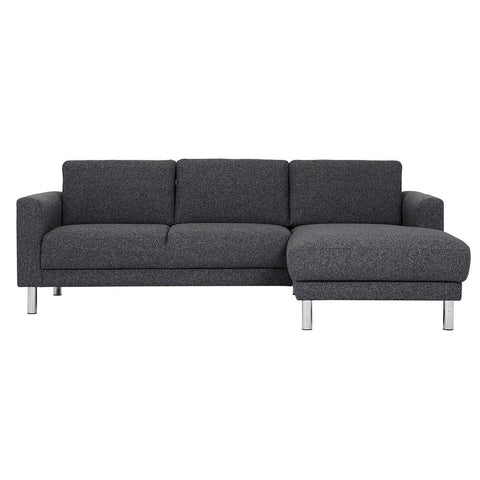 Cleveland Chaise & Lounge Sofa - Dark Grey (Right Hand)