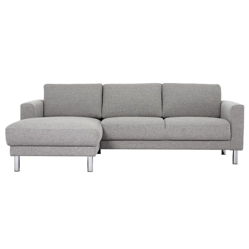 Cleveland chaise lounge fabric sofa light grey left for Chaise lounge company